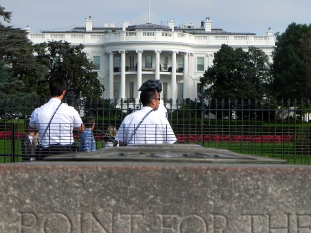 These guys, protecting the President (from WAY far away) - just couldn't be bothered to move for citizens taking pics.